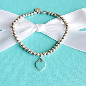 Blue enamel mini heart tag bead bracelet
